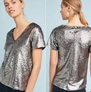 Anthropologie Venessa Virginia Sequin V Neck Top